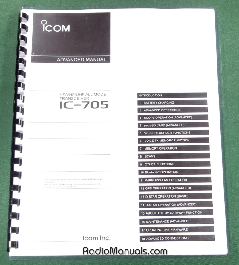 Icom IC-705 Advanced Instruction Manual